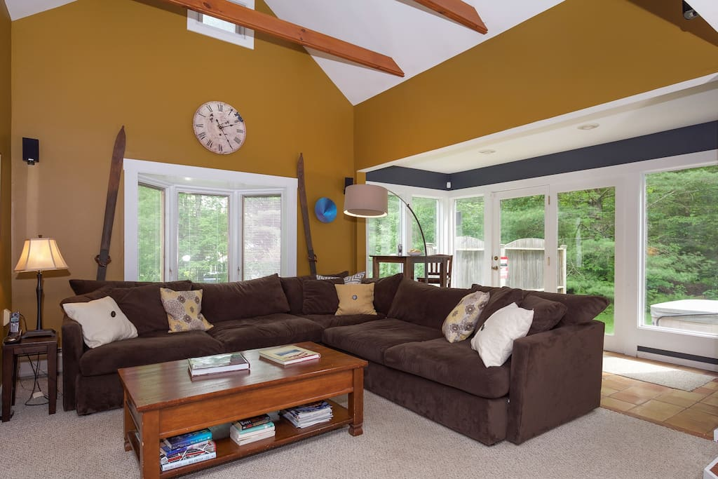 Great room with comfy sofa and soaring ceilings