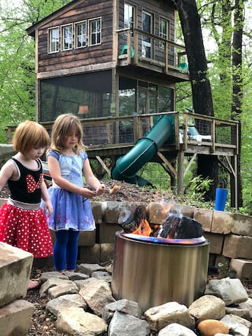 We put a SoloStove in the firepit to help reduce smoke so guests can relax more comfortably while they enjoy roasting hotdogs and marshmallows.