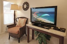 Living Room has AC and features large 46-inch TV for DVD player