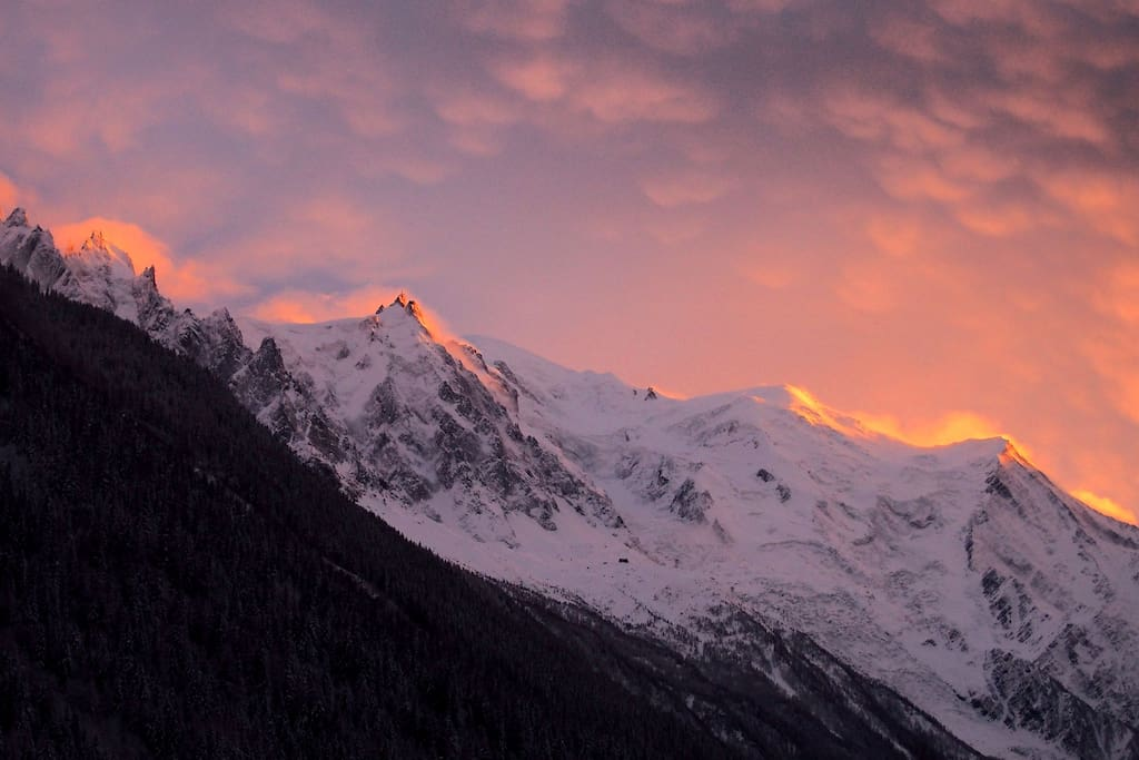 The Mont Blanc massif in the sunset, photo taken from our balcony.