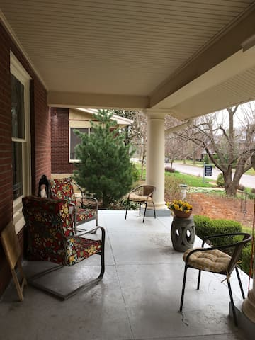 The front porch is the perfect spot to talk, to read, to greet the neighbors or to enjoy a cup of coffee or a drink