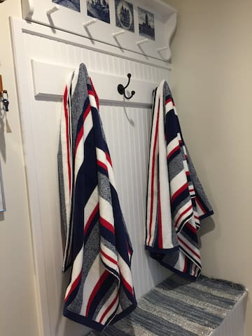 Beach towels waiting for you just outside your room.
