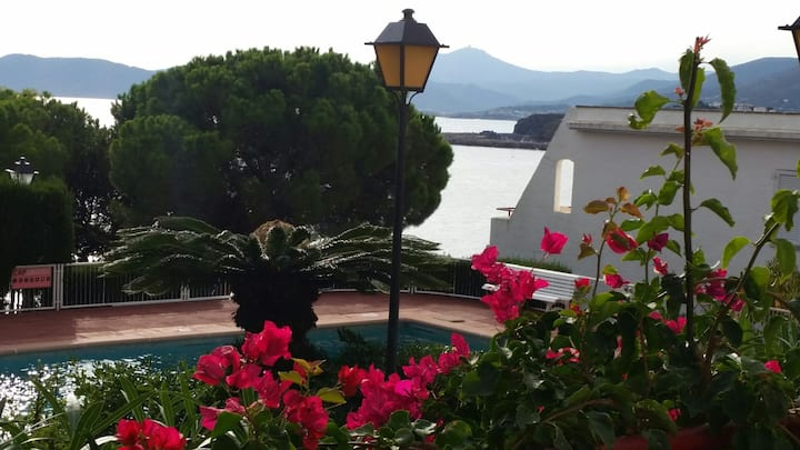 200m de la mer, terrasse de 25 m2 fleurie, piscine