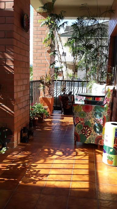 The balcony in the morning sun