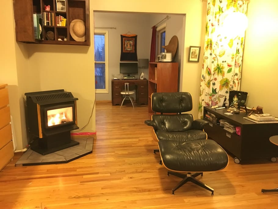 Living room with gas fireplace looking toward dining room