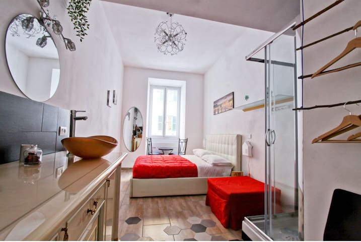 Your private room + private bathroom (shower and sink). Third additional single bed or request