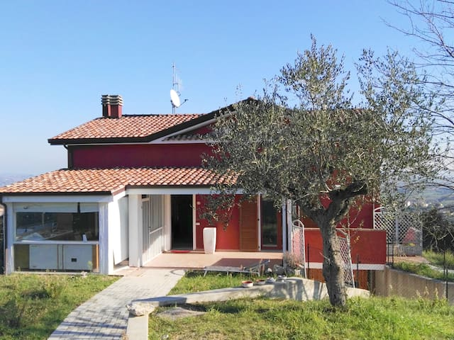 Villa with swimming pool on the olive trees hills