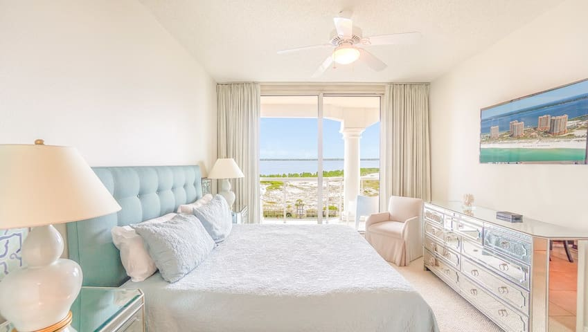This Master Bedroom allows you to unwind in comfort after a long day on the beach.