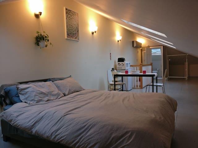 Cute, Bright Private Attic Space in Brooklyn Home