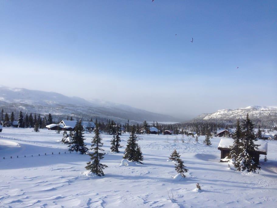 Utsikt fra hyttetak.  View from the roof