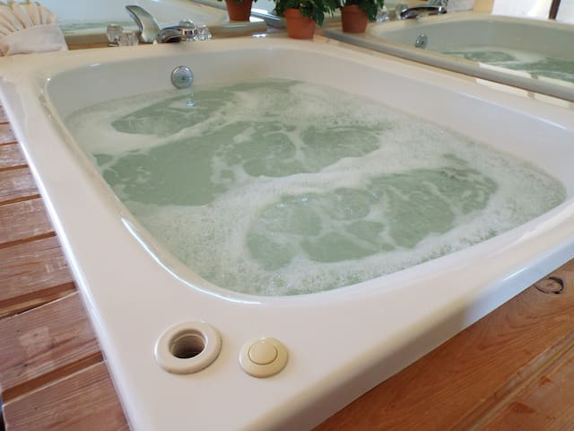 Two person whirlpool tub.  Perfect after a day exploring the area.