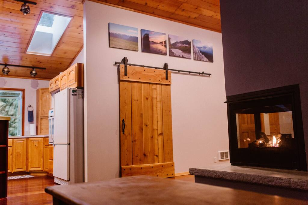 Our skylights bring in nice natural light and the propane fireplace will keep you cozy.