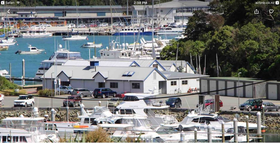 Looking out onto the Marina and Picton waterfront from the Front Deck - Photo enlarged