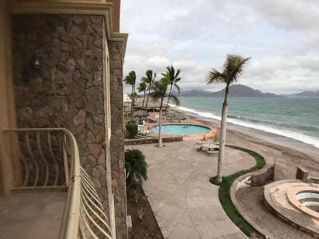 View of the Sea of Cortez (six mile long open beach) and the pool from the balcony.