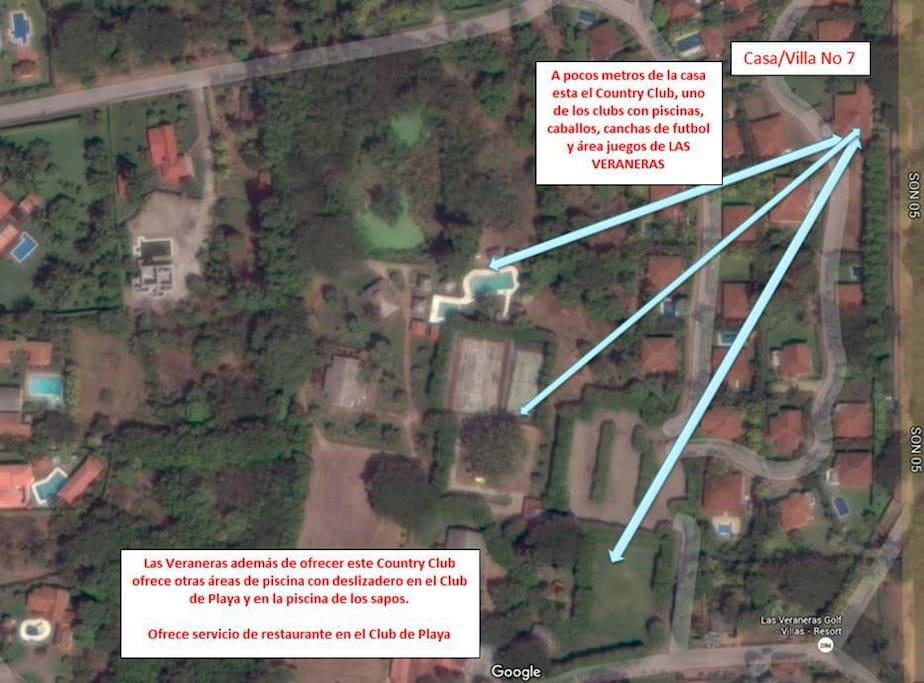 Croquis de ubicacion de la casa a pocos metros de la piscina del Country club y canchas