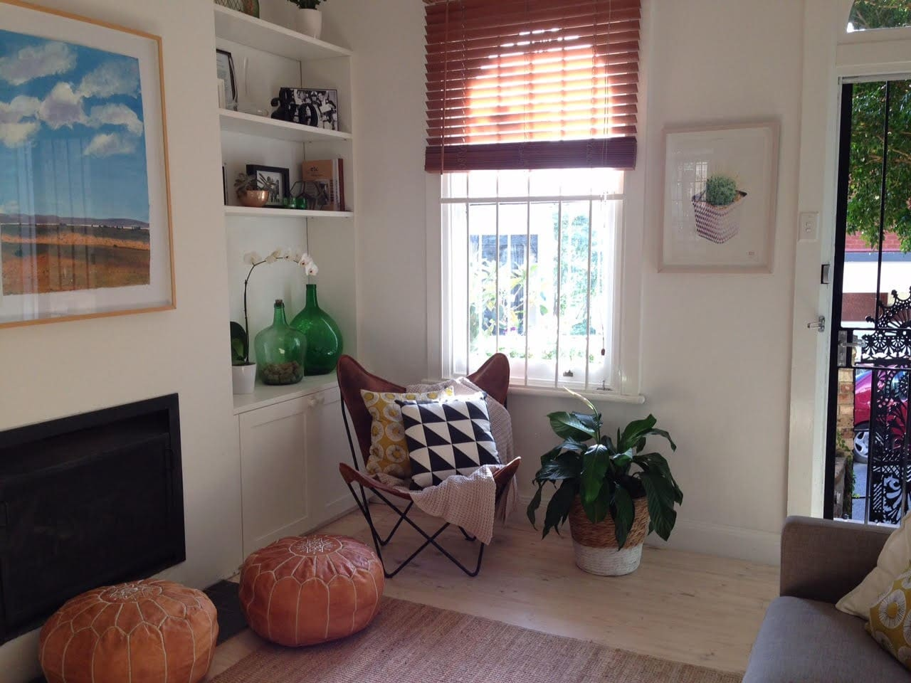 Living space with lots of natural light. Fire place to keep you warm in winter