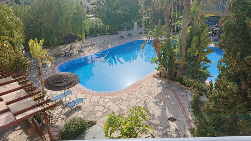 Newly furnished apartment with pool and sea views