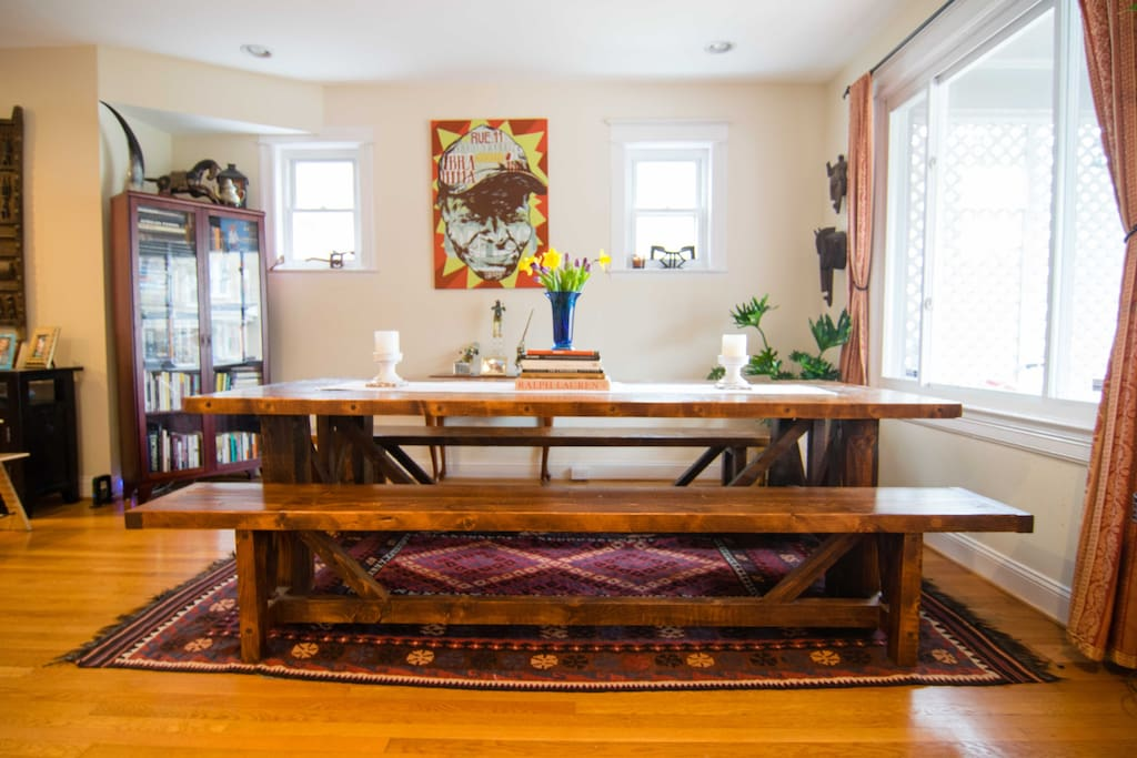You will love our rustic farm table that can seat a crowd (12) for dinner. The table was made from wood salvaged from an old barn on our family's farm in Vermont.