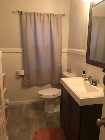 Shared full bathroom on the main floor