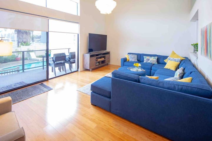 Massive sectional is a great place to relax and enjoy the sunset and ocean views!