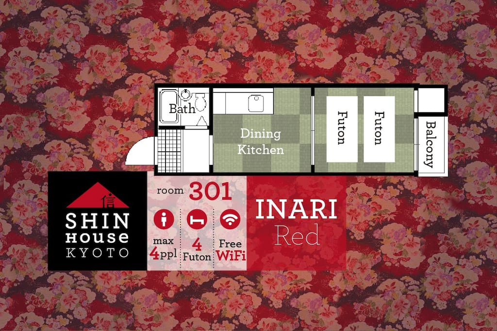 Renovated authentic Japanese room in stylish INARI-Red tone for 2-4 people