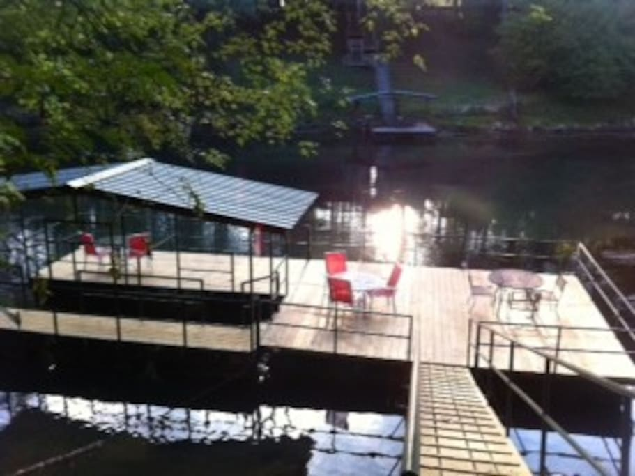 Your Private Boat Dock; partially covered with ample seating; boat slip