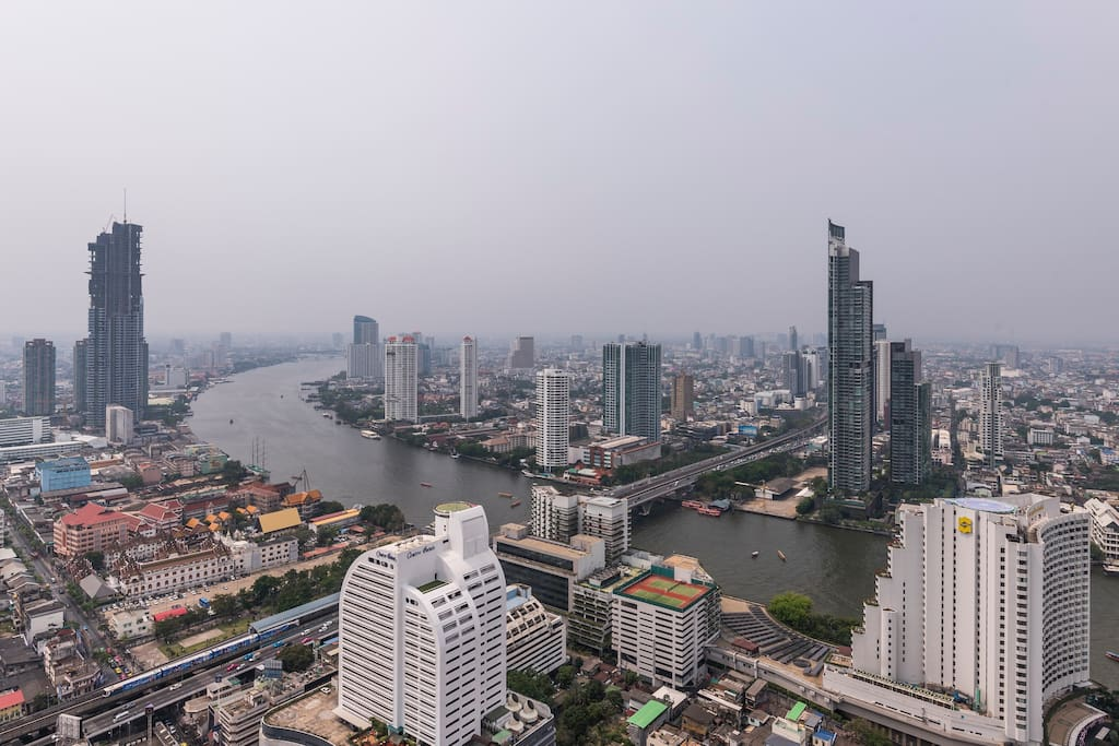 Breath-taking view over Chao Phraya river from my balcony!