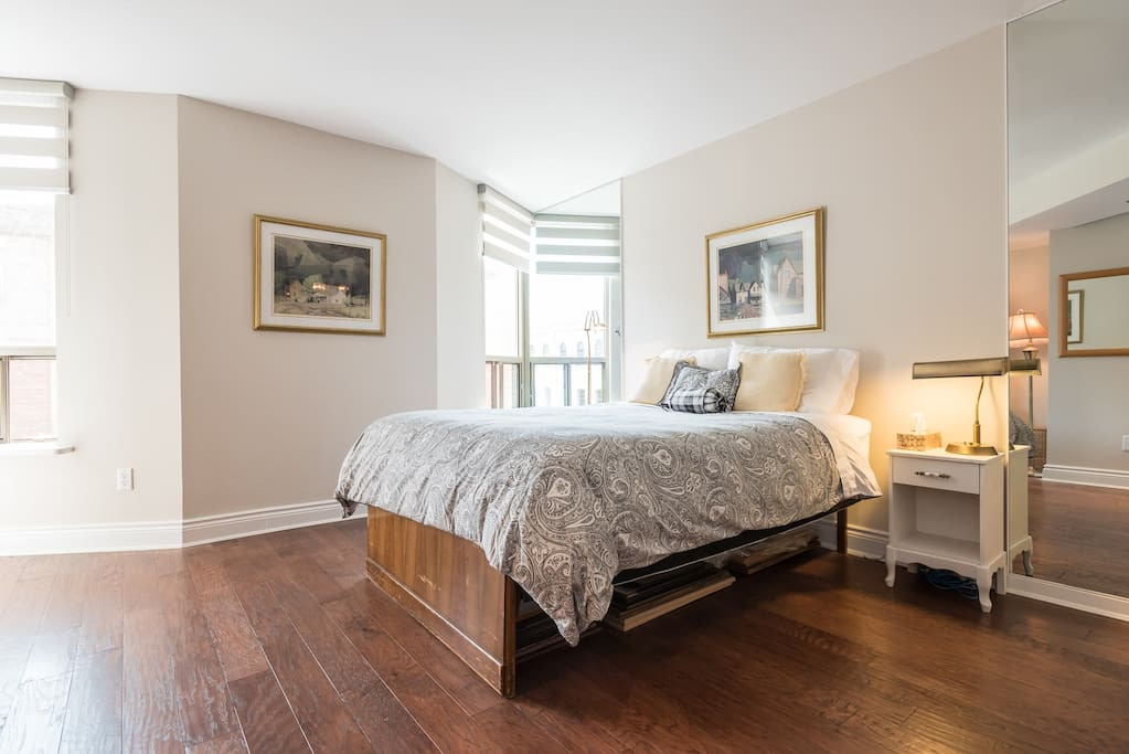 Spacious guest room with Queen size bed, 600 count Egyptian cotton sheets and down duvet.