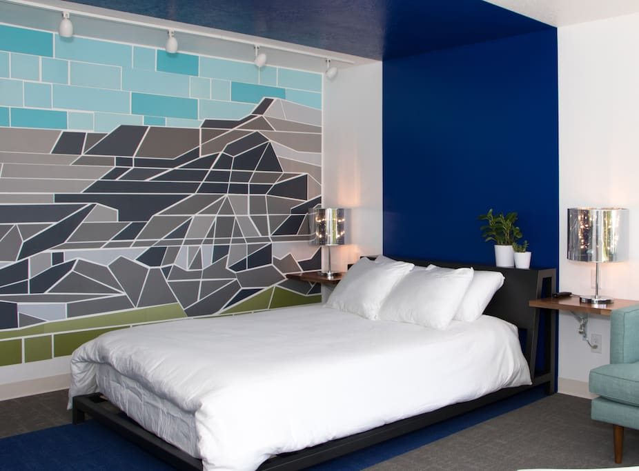 The Book Cliffs Guestroom with custom artwork by the guestrooms owner, Nicholas