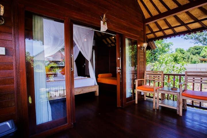 A unique of Balinese wooden villas at Lembongan