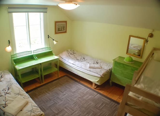 green room with 4 beds, but sorry to disappoint you, honestly this is old room and kinda old bed but clean and tidy, you can move the bed to make it double for couple