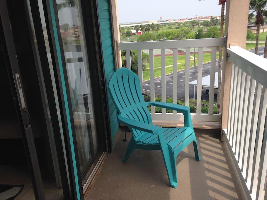 2- Adirondack chairs on the balcony patio