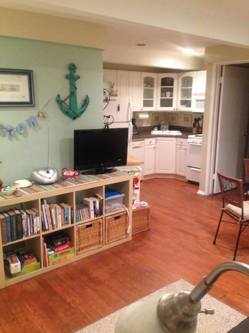 Fully equipped kitchen and living area
