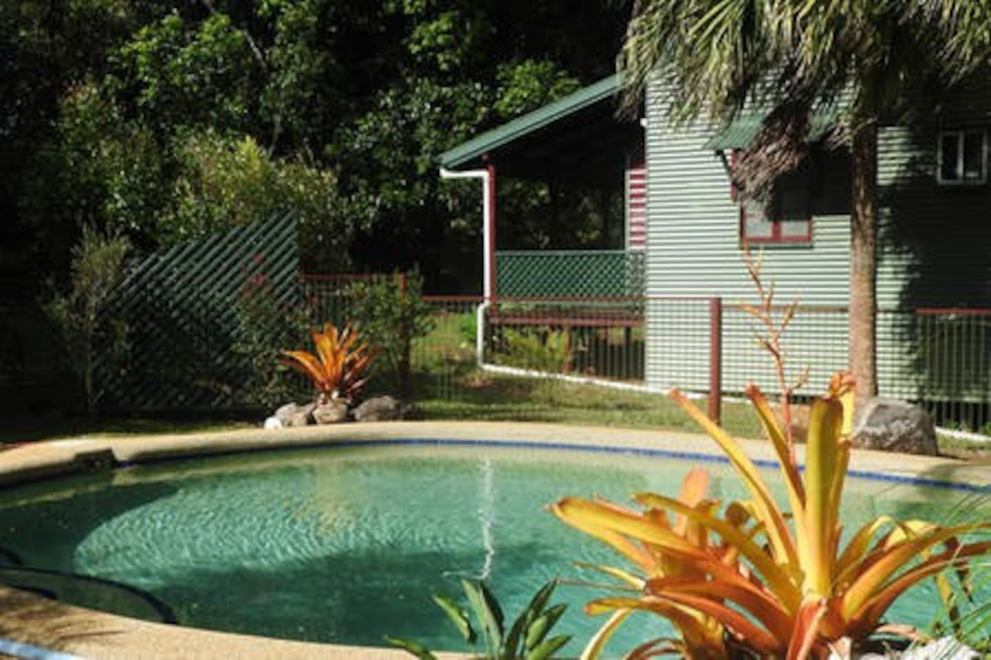 Saltwater swimming pool and the guest house