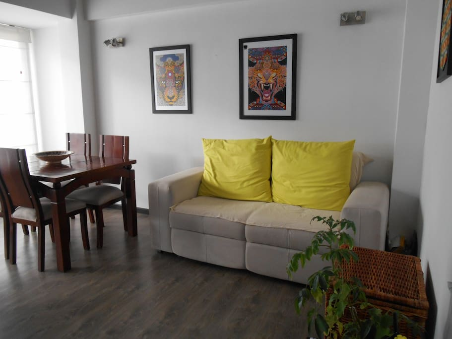 Comfortable sofa, sitting table and 4 chairs
