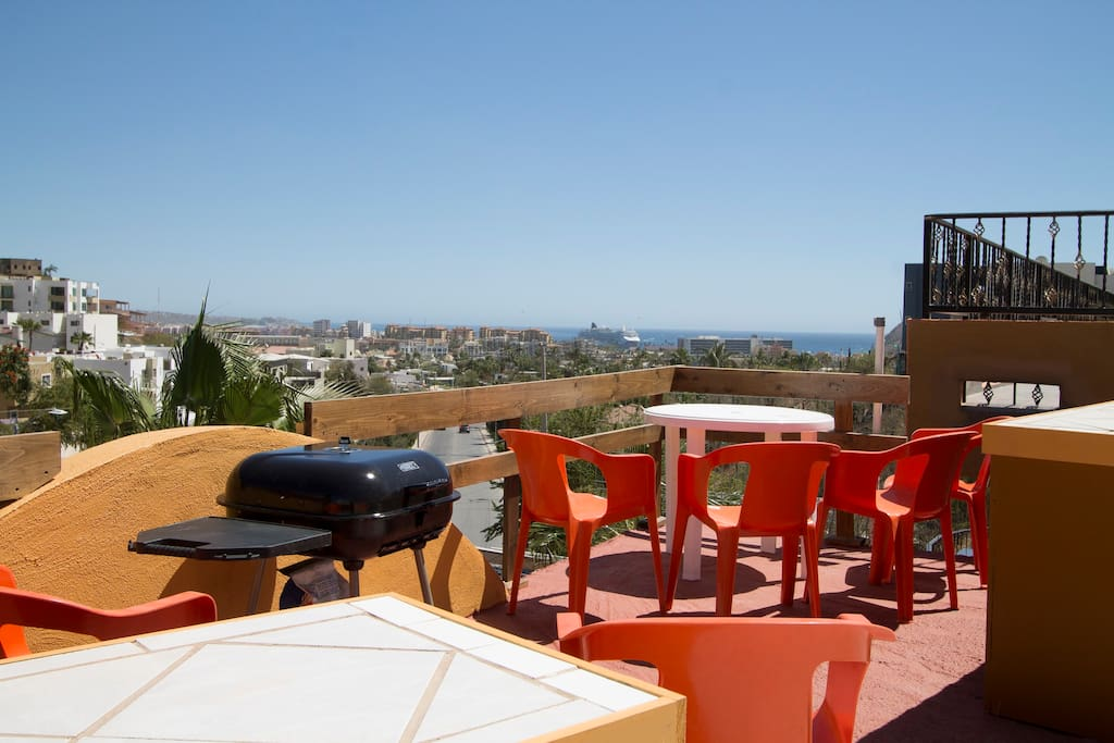 AWESOME VIEW of the Sea of Cortez from the rooftop. Have a barbque and beer.