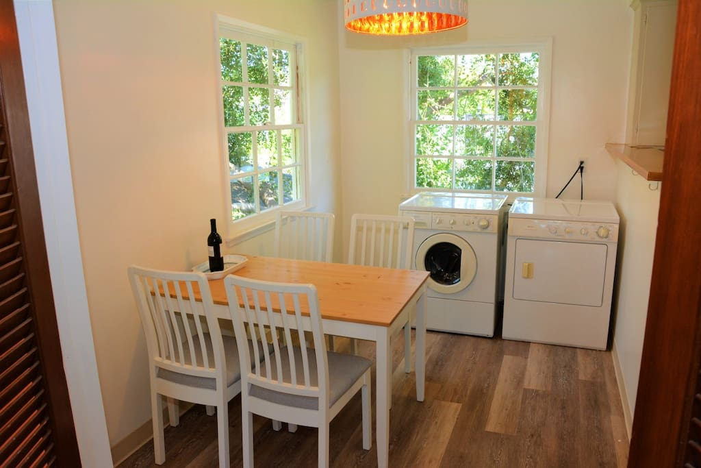 Dining room with washer & dryer