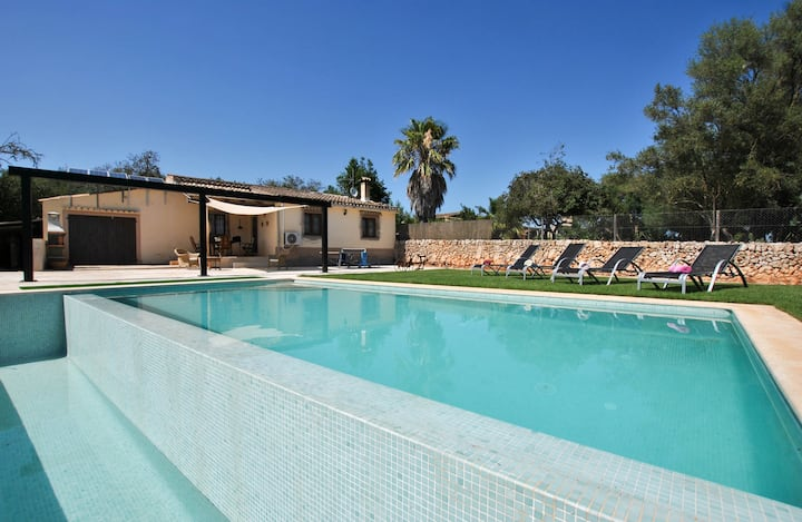 "Modern ""Villa Calderitx"" with Wi-Fi, Air Conditioning, Terrace, Garden & Pool; Parking Available"