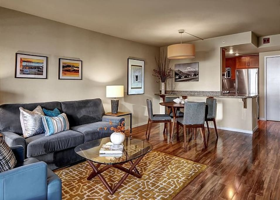 Comfortable sitting space with open access to dining and kitchen.
