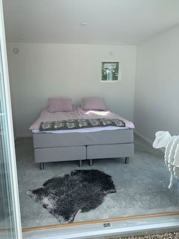 New Pool House bedroom with King Size bed.