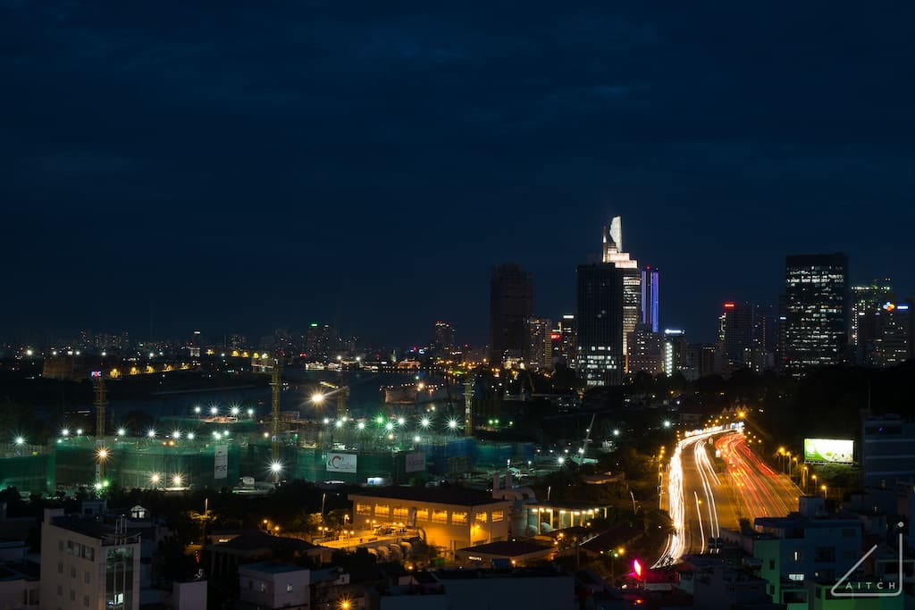 But first let's head to the balcony to capture Saigon by night with her iconic buildings.