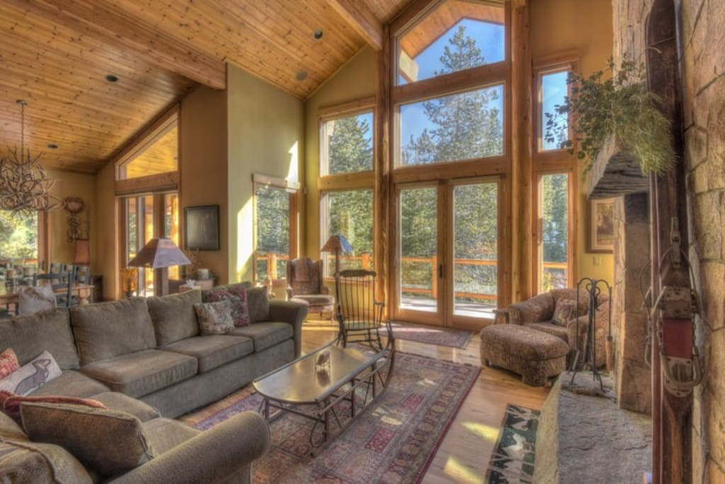 High vaulted ceilings with spacious family room