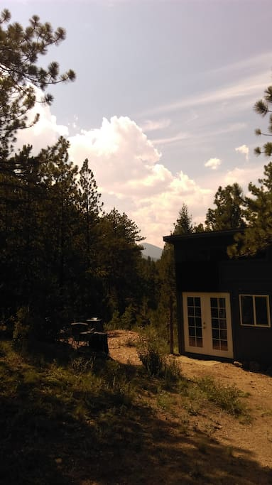 Private cabin tucked into private woods bordering national forest
