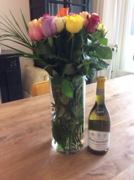 Wine, flowers