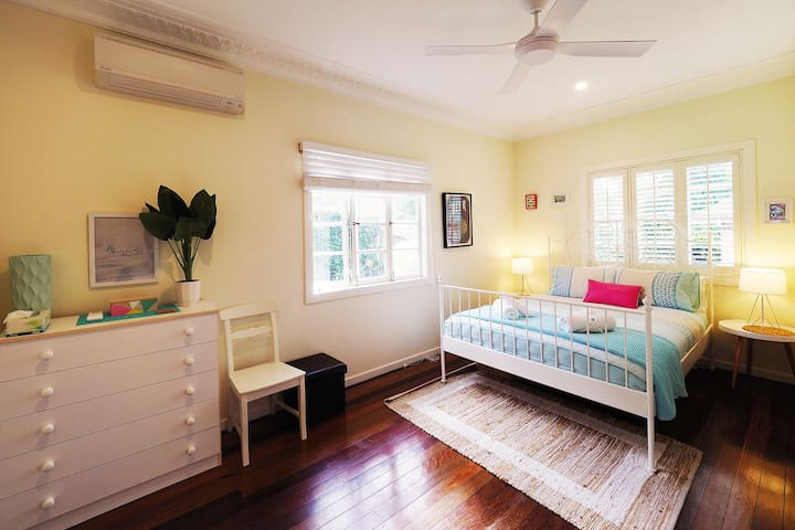 The super comfy master bedroom, Queen bed and split system air-conditioning.