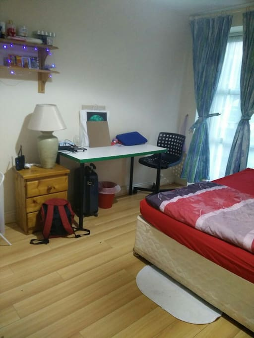 Large cosy room with desk/chair/double bed/cupboard