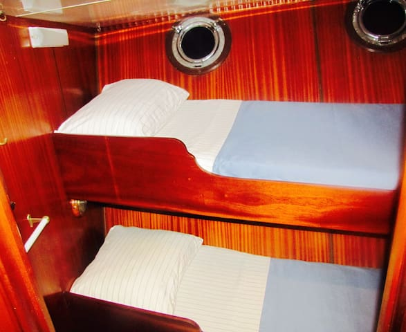 Cabin 2-4 have single bunks. All cabins have opening port holes.