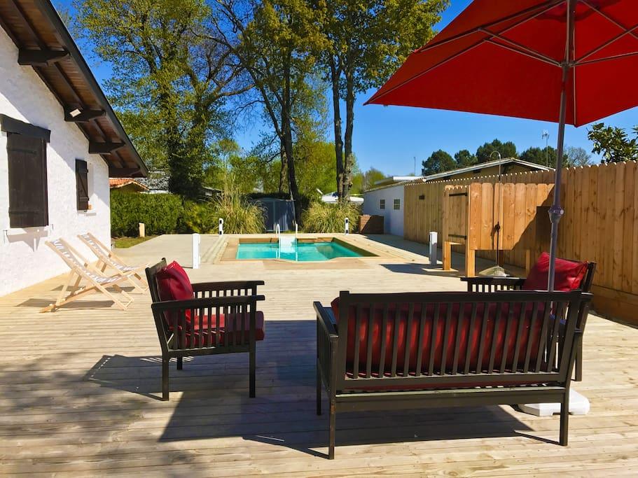 Villa avec piscine au cap ferret 10mn de l 39 oc an for Maison a louer cap ferret avec piscine