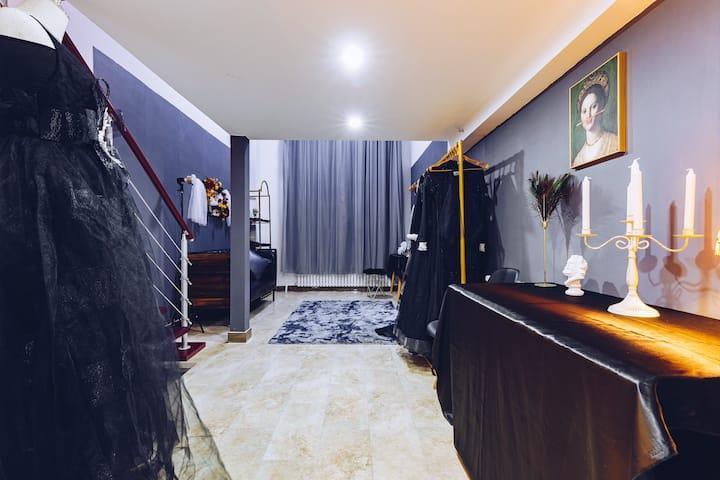 印心•初见婚纱民宿[黑纱] Black Dream南湖主题loft大床房