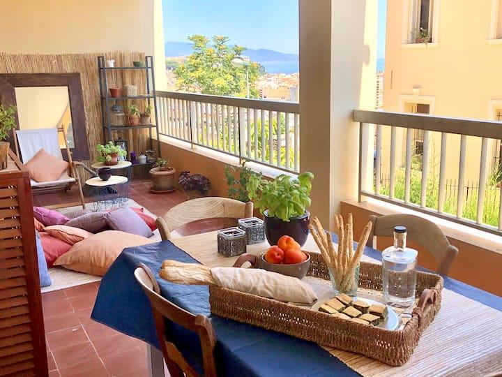 Cap d'Ail: chambre privée avec vue mer et Monaco